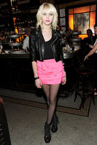black boots - black jacket - black fishnet tights - bubble gum pleated skirt