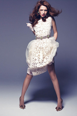 white lace white Louis Vuitton dress