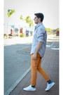 Heather-gray-zara-shirt-teal-jcrew-socks-mustard-massimo-dutti-pants