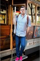 blue Zara jeans - white Massimo Dutti shirt - hot pink H&M sneakers