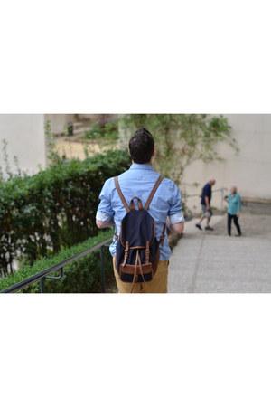 light blue Zara shirt - navy Zara bag - mustard Zara shorts