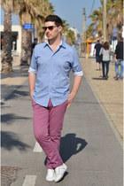 light blue Zara shirt - pink Massimo Dutti pants - white Pull & Bear sneakers