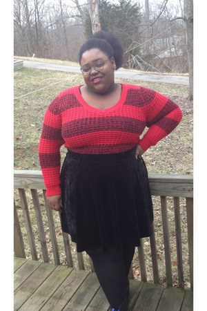 red wool sweater - black velvet Forever 21 skirt