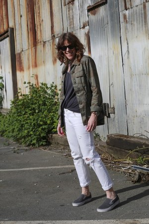 white boyfriend Gap jeans - charcoal gray sneakers Vans shoes