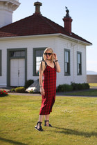 brick red slip dress Zara dress