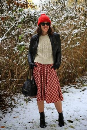 red flannel Nordstrom skirt - black bootie Tahari boots