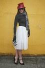 Black-stella-dot-scarf-black-clutch-target-bag-white-tulle-rosegal-skirt