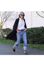 black duster jacket - blue 501 Levis jeans - black mules loafers