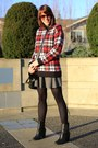 Tahari-boots-brick-red-plaid-h-m-sweater-black-skater-zara-skirt