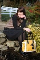 yellow satchel Shoedazzle bag - black pleated Lands End skirt