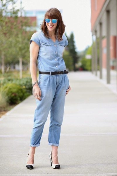 sky blue jumpsuit Zara jeans - white mirrored Cole Haan sunglasses