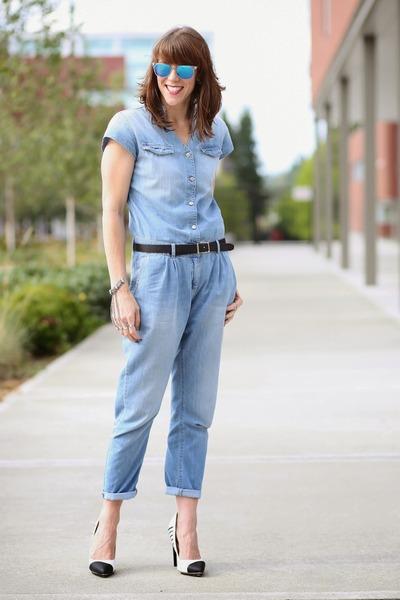 e441e1c9d0 sky blue jumpsuit Zara jeans - white mirrored Cole Haan sunglasses