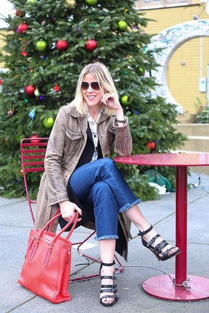 brown leather Guess coat - blue frayed Levi jeans - red tote Stella & Dot bag
