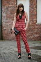 brick red menswear Kal Rieman vest - black clutch stell & dot purse
