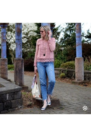 blue pearl mom jeans Zara jeans