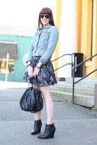 black Zara skirt - light blue denim Gap jacket - black hobo JustFab bag