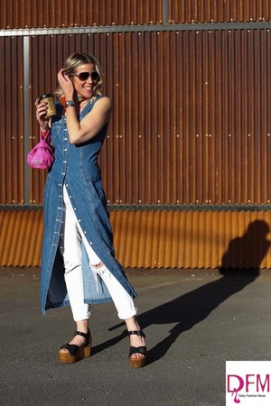 blue denim dress - boyfriend Gap jeans