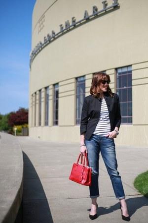 black shrunken Anne Klein blazer - blue boyfriend jeans Gap jeans