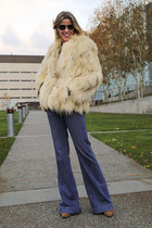 beige fur vintage coat - navy flared Just Black jeans