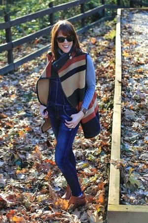 brown wool Kal Rieman vest - navy overalls Zara romper