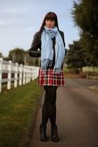black leather Topshop jacket - sky blue square Nordstrom scarf