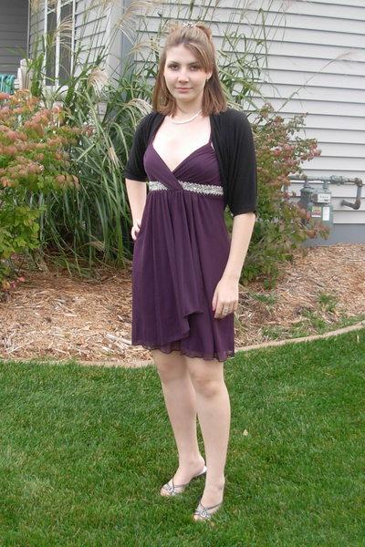 Purple Dress Black Cardigan Silver Necklace Shoes