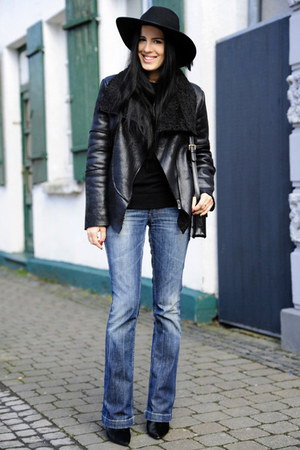 black Zara boots - navy Miss Sixty jeans - black Floralpunk hat