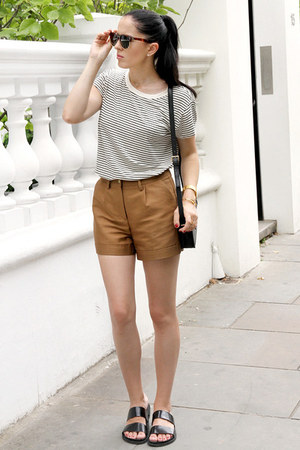 gold shorts - black Mango bag - dark brown Wolfsnoir sunglasses
