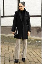black OASAP coat - black Mango bag - light brown Zara pants