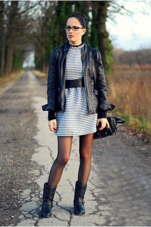 black H&M boots - white PERSUNMALL dress - black Zara jacket - black Zara bag