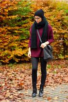 black Zara boots - black Zara jeans - black Zara hat - maroon Primark sweater