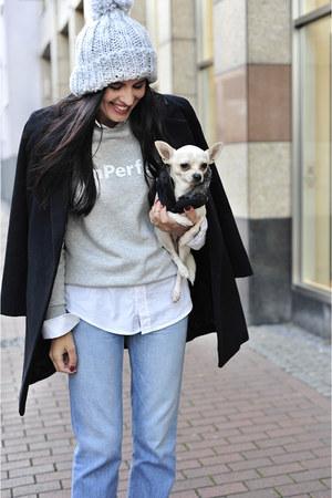 black Zara boots - black OASAP coat - blue Zara jeans - silver Primark hat