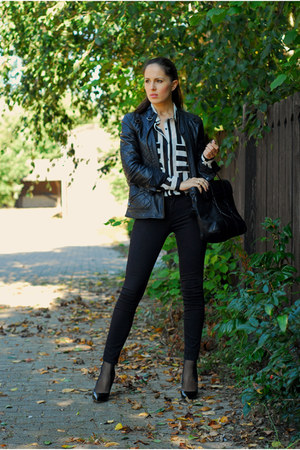 black Zara jeans - black Zara jacket - black Zara bag - black Jumex heels