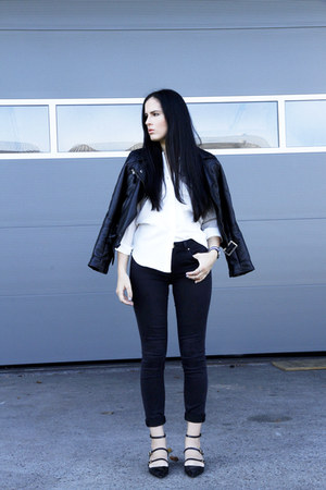 black Zara jeans - black Choies jacket - white OASAP shirt - black Zara flats
