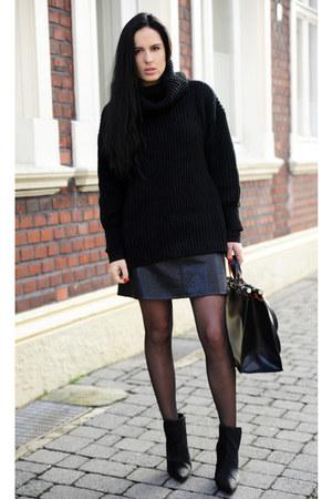 black Zara boots - black OASAP sweater - black Zara bag - black Zara skirt