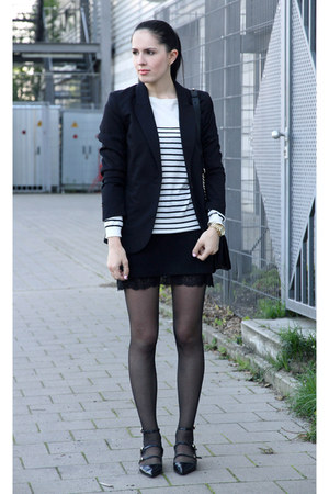 black H&M blazer - white Zara shirt - black lookbookstore skirt