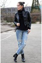 black Zara boots - sky blue Zara jeans - black Choies jacket - black H&M shirt
