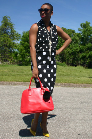black Express top - red Express purse - black The Limited skirt