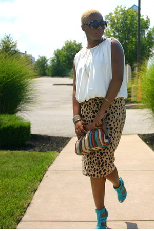 skirt - multicolor bag - pumps - top
