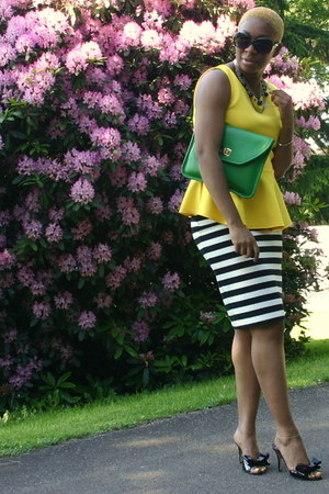 yellow top - green bag - black sandals - bw striped skirt