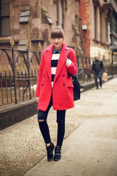 Mango coat - sam edelman boots - Zara Kids sweater