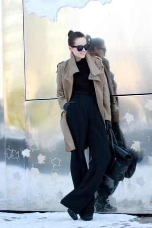 dark khaki coat - black philip lim bag - black sunglasses - black pants