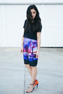 Deep-purple-lake-at-sunset-fate-skirt-black-silk-seed-heritage-top