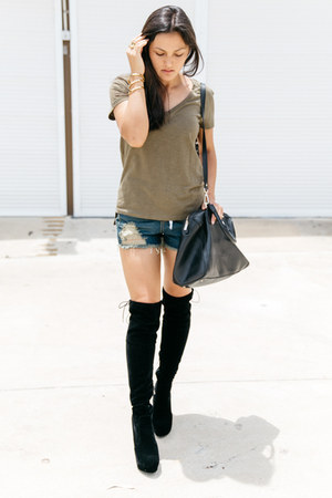 black over the knee lightinthebox boots - navy destroyed denim Unlabelled shorts