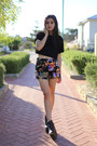 Platform-wedge-missguided-boots-floral-print-missguided-shorts