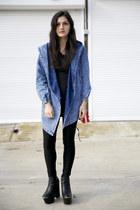 blue denim parka Yesfor jacket - black platform Missguided boots