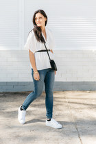 black bag - blue asos jeans - white asos sneakers - black asos belt