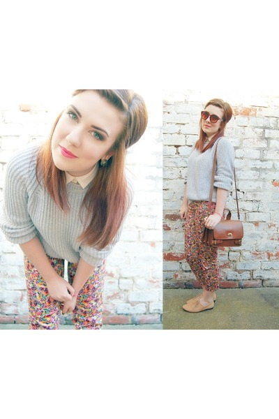floral Topshop pants - grey Topshop sweater - sheer new look shirt