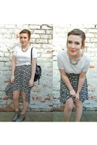 new look skirt - leather Topshop boots - Primark bag - white cotton COS t-shirt