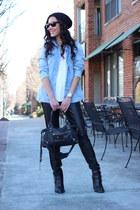 denim Zara shirt - wayfarer Ray Ban sunglasses - leather BB Dakota pants